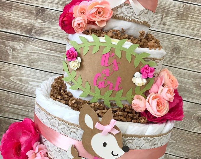 Featured listing image: Floral Woodland Diaper Cake for Girls, Rustic Floral Baby Shower Centerpiece, Shabby Chic Baby Shower Decoration