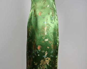 Gold-Green Cheongsam Maxi High Side Slits Traditional Chinese Quipao Dress 38 Bust 32 Waist 39 Hips