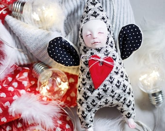 Winter home decor, Monochrome nursery decor, minimalist angel doll, kids home accessories, angel with a heart, knitted guardian angel