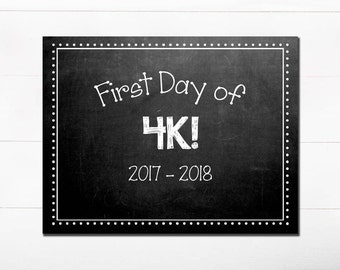 First Day of School Chalkboard Sign / 4K / First Day of School / Back to School Sign / 8x10 DIGITAL Printable JPEG