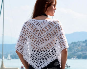 Crochet shrug PATTERN for sizes M-5XL, crochet TUTORIAL in English (every row), crochet vest pattern, sexy crochet cover up triangle pattern