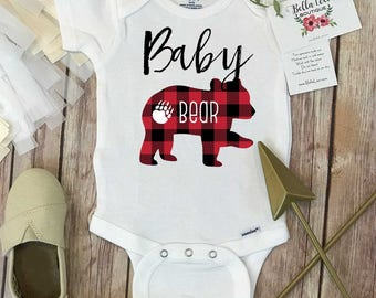 Baby Bear Onesie®, Buffalo Plaid Shirt, Baby Bear Shirt, Family Shirts, Matching Bear Shirts,Buffalo Plaid Bear,Family tees,Mommy and Me,RED