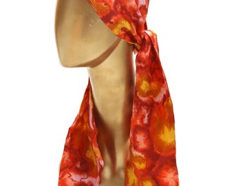 1960s Multi Colored Long Floral Print Silk Hair Scarf