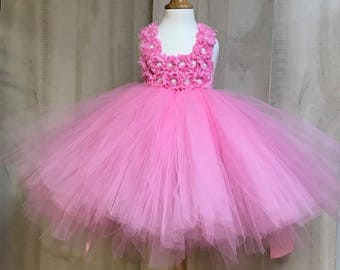 Flower girl dress - Tulle flower girl dress -Pink Dress - Tulle dress-Infant/Toddler - Pageant dress - Princess dress - Pink flower dress