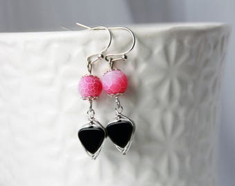 Earrings silver agate, agate, Silver earrings, frosted, black and pink earrings, dangle earrings, natural gemstone earrings, earring gemstone