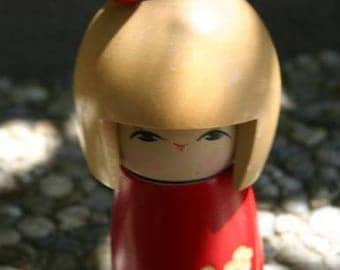 6+ Inches Tall Kokeshi Doll Woden Hipster Asian Japanese Girl Cool Ready To Ship Now!!