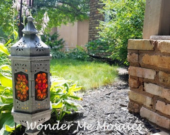 Stained Glass Mosaic Lantern - Vertical Reds