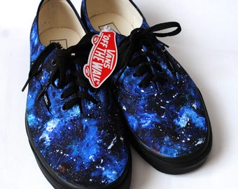 Custom handpainted galaxy VANS, galaxy shoes, blue galaxy shoes