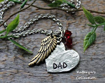 Memorial Necklace, Dad Memorial, My Angel, Memorial Necklace, Loss of Father, Forever in My Heart (Read full listing details)