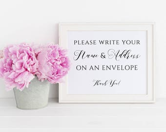 Address an Envelope Wedding Sign Printable, Please Write Your Name and Address on an Envelope Sign, Shower Envelope, Instant Download. WC3
