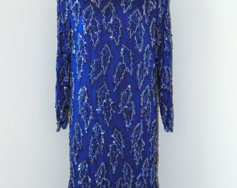 Vintage 1980s Gorgeous Royal Blue Sequined Dress in size Small