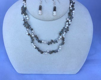 Labradorite and White Fresh Water Pearl Gemstone Long Necklace, Wrap Bracelet, Elegant Hand Crochet on Pure Silk, Earrings & Sterling Silver