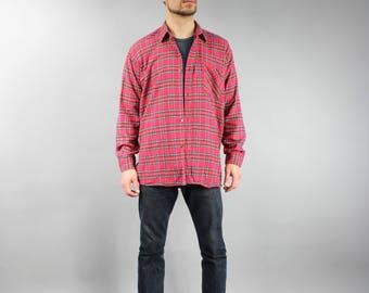 Corduroy REd Shirt Men's Vintage 90s Plaid Check Print Oxford Shirt Cord Flannel Shirt Button Down Casual 1990s Shirt Size  Medium to Large