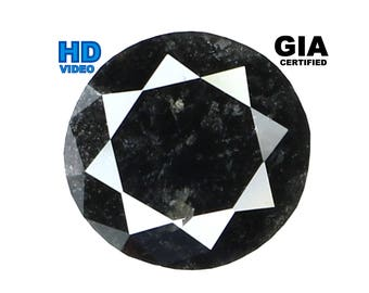 GIA CERTIFIED 1.38 Ct Natural Loose Diamond Round Brilliant Fancy Black 6.85 MM L8007 Bkk