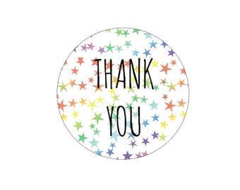 Rainbow Star Confetti Thank You Stickers Packaging Stickers Wedding Favor Stickers Envelope Seals Colorful Stickers