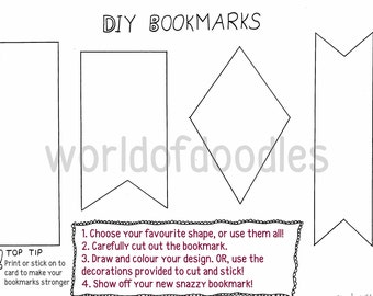 DIY Bookmarks, PDF Download, Children, Adults, Art and Craft, Printable, Activity, Books, Reading, Gift, Reading Rewards