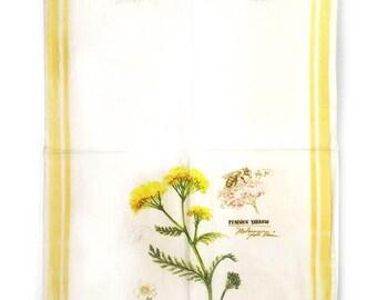 Yellow Yarrow Tea Towel, Botanical Hand Towel, Kitchen Towel, Yarrow Towel, Flower Tea Towel, Floral Kitchen Towel