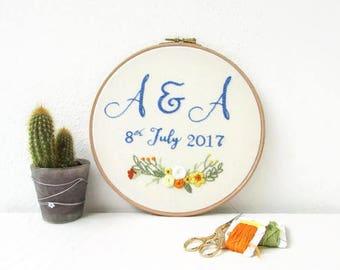 Customised wedding hand embroidery, wedding gift keepsake, personalised anniversary gift, embroidery hoop art, handmade in the UK