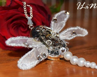 OOAK white dragonfly steampunk necklace