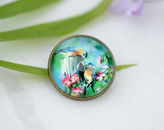 Bird pin, bird brooch, bird button