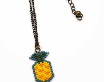 Pineapple Necklace, Beaded Fruit Necklace, Tropical Food Jewelry, Beaded Pineapple Charm Necklace, Summer Accessory