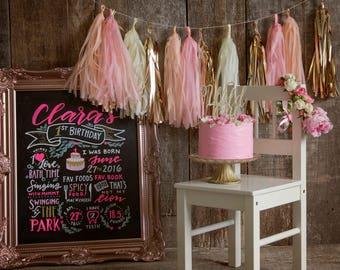 Pink Smash Cake Smash Props Pink Smash Cake Banner Blush Rose Gold Tassel Garland photo props first birthday 1st birthday girl decorations