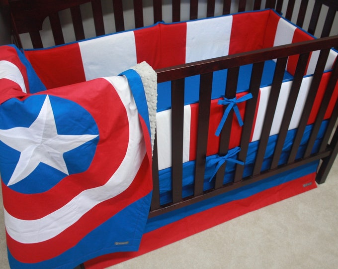Superhero baby bedding--Red, White, and Blue--With Bumpers-MTO