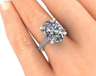 Custom Moissanite Engagement Ring, 7 Carat Oval SuperNova, 18K Palladium and White Gold, Ethical Diamonds, Diamond Alternative