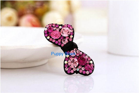 Puppy Bows ~ Hot pink swing 2 styles rhinestone dog pet hair clip barrette  ~USA seller