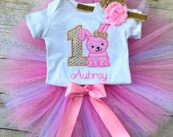 Bunny 1st Birthday Tutu Outfit, Rabbit Shirt, Bunny Rabbit Birthday Party, Cake Smash, Pink and Gold