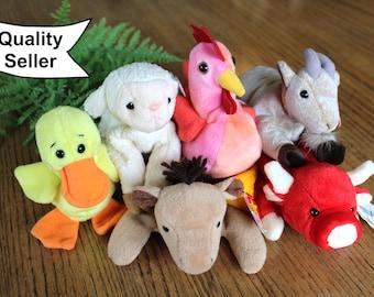 TY Beanie Baby Farm Animals / Vintage Beanie Baby Toys / Barn Yard Beanie Baby Toys / Old McDonald Had a Farm Toys