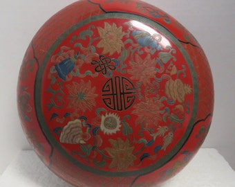 Vintage, Chinese Republic Period Hand Lacquered Red Cake Box.