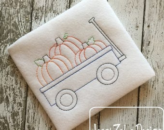 Pumpkins in wagon color work embroidery design - pumpkins embroidery design - color work embroidery design - wagon embroidery design