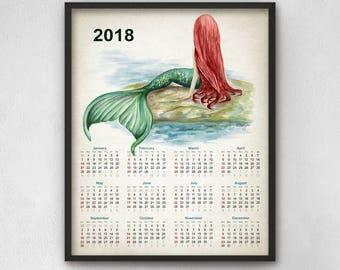 Mermaid Watercolor Calendar 2018 - Mermaid Art Calendar Print - Mermaid Painting Wall Art Poster - Home Decor - Nursery Wall Art Print