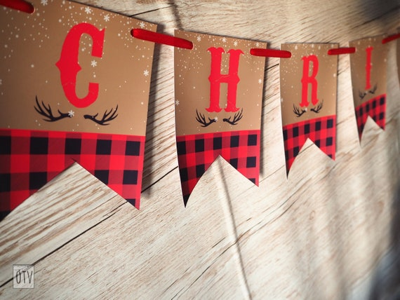 Lumberjack BUFFALO Check Personalised Bunting/Banner Christmas - PRINTABLE - Pdf - Digital