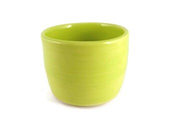 Neon Green bowl - small bowl - snack bowl - pottery bowl