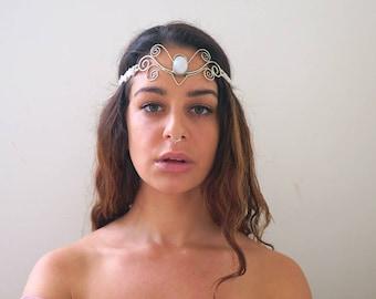 Moonstone Goddess Headpiece, bridal headdress, medieval tiara, wedding circlet, renaissance elvish crown, white fairy moonstone headpiece