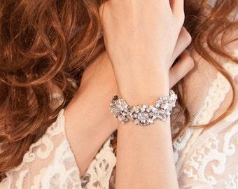 Bridal Swarovski rhinestone cuff bracelet