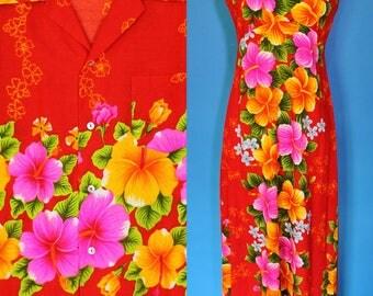 Vintage 60s Red Hawaiian Barkcloth Tiki Party Wedding Honeymoon Set His & Hers Dress Shirt