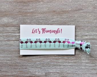 Flamingos Fuchsia Light Blue Hair Tie-Let's Flamingle!