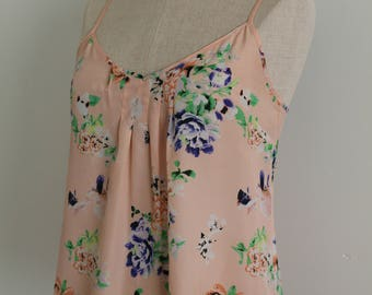 Retro 1930s Style Peach Floral Print Silky Camisole