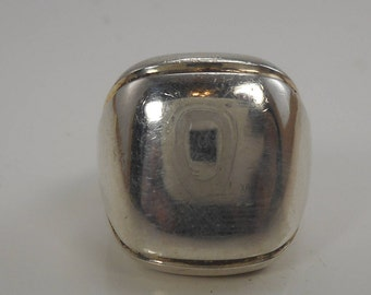 Vintage Sterling Silver Square Dome Ring Size 6  ,Sterling Dome Ring