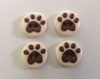 Paw Print Buttons - Set of 4