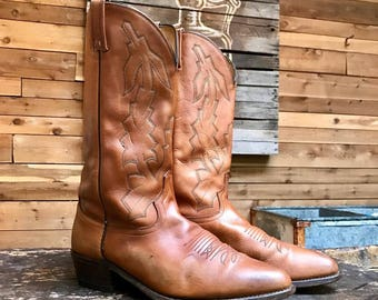"""Vintage Dan Post """"Marlboro"""" Western Boots Vtg Brown Leather Cowboy Boots Made in USA Men's Size 11 Wide"""