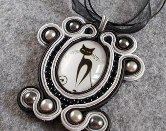 Soutache Necklace Black Cat