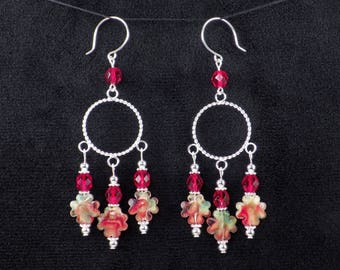 Handmade Red Multicolor Glass Bead Silver Hoop Chandelier Earrings