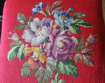 Needlepoint footstool, embroidered footstool
