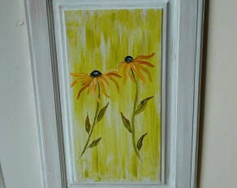 Black eyed susan painting, black eyed susan art, black eyed susan decor, black eyed suzie art, black eyed susie art, upcycled door art