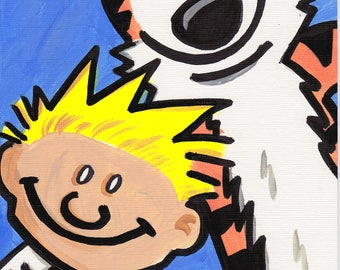 "Calvin and Hobbes painting acrylic 9"" x 6"""