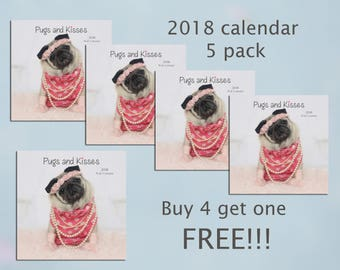 2018 Wall Calendar - Cute Pug Gift - 5 Pack Gift Pack - Pug and Kisses